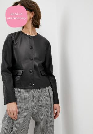 Куртка кожаная Escada Sport. Цвет: черный