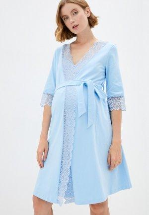 Халат и сорочка ночная Fest П210505К. Цвет: голубой