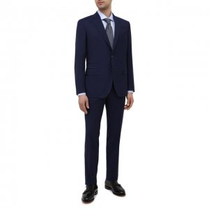 Шерстяной костюм Brioni. Цвет: синий