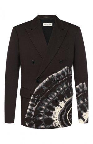Хлопковый пиджак Dries Van Noten. Цвет: коричневый