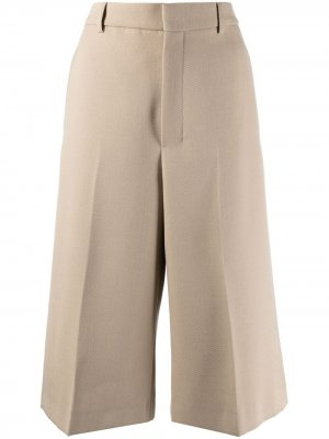 Укороченные брюки широкого кроя AMI Paris. Цвет: нейтральные цвета