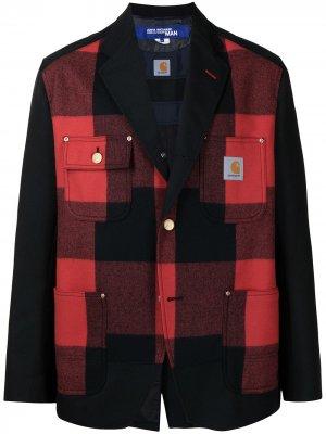 Пиджак в клетку Junya Watanabe MAN. Цвет: красный