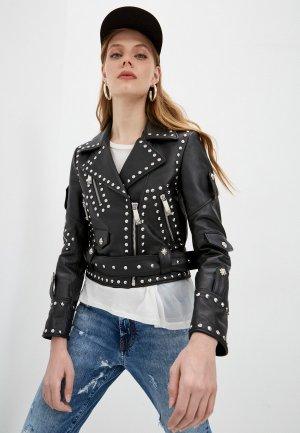 Куртка кожаная John Richmond. Цвет: черный