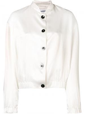 Куртка-бомбер с принтом логотипа Jil Sander. Цвет: белый