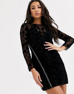 Кружевное платье мини с длинными рукавами и молнией -Черный ASOS DESIGN