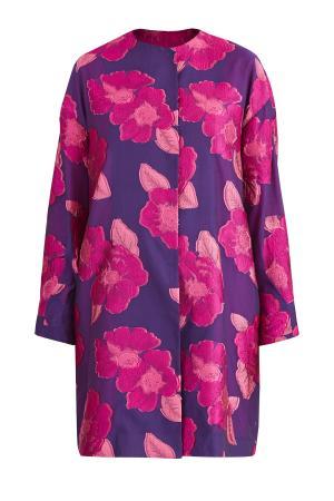 Яркое пальто с жаккардовой цветочной вышивкой и потайной застежкой EMANUEL UNGARO. Цвет: фиолетовый