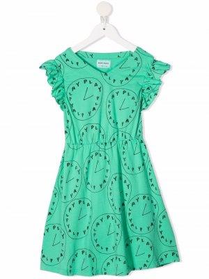 Платье с оборками и графичным принтом Bobo Choses. Цвет: зеленый
