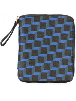 Бумажник на молнии с геометрическим принтом Pierre Hardy. Цвет: синий