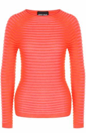 Пуловер фактурной вязки с круглым вырезом Giorgio Armani. Цвет: красный