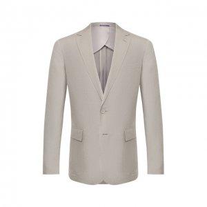 Пиджак из шелка и льна Ralph Lauren. Цвет: серый