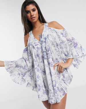 Cold shoulder lilac print beach dress with mirror detail-Мульти ASOS DESIGN