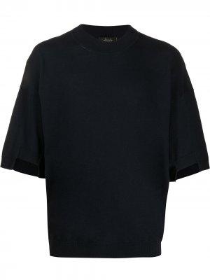 Трикотажная футболка с круглым вырезом Maison Flaneur. Цвет: синий