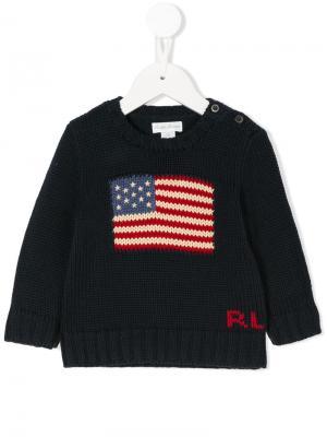 Вязаный свитер с логотипом Ralph Lauren Kids. Цвет: синий