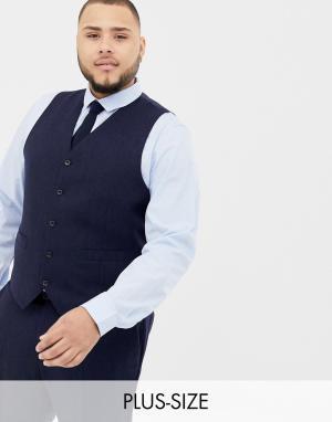 Темно-синий жилет из ткани с добавлением шерсти Plus Gianni Feraud