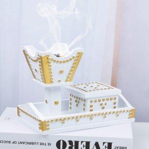 1 набор Настольная курильница для благовоний SHEIN. Цвет: белый