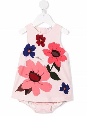 Floral-print cotton dress Dolce & Gabbana Kids. Цвет: розовый