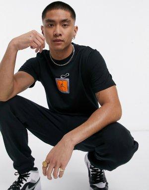 Черная футболка с принтом брелока Nike Keychain-Черный цвет Jordan