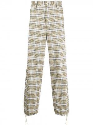 Клетчатые джинсы широкого кроя Marni. Цвет: белый