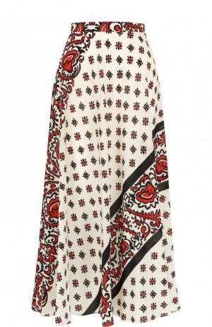 Шелковая юбка-миди с принтом REDVALENTINO. Цвет: красный