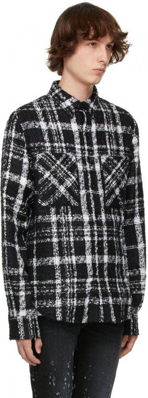 SSENSE Exclusive Black & White Mohair Tweed Shirt Faith Connexion. Цвет: 110 black