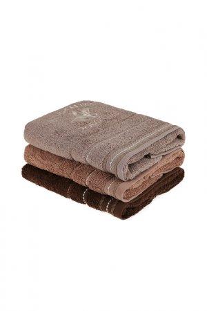 Набор полотенец для рук, 3 шт. Beverly Hills Polo Club. Цвет: коричневый