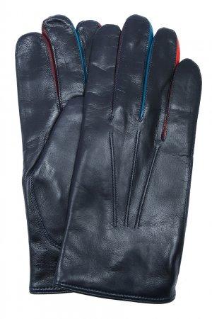 Темно-синие кожаные перчатки PAUL SMITH. Цвет: синий