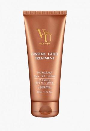 Маска для волос Von U Уход с экстрактом золотого женьшеня. Цвет: бежевый