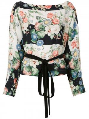 Блузка с принтом и завязками на талии Gloria Coelho. Цвет: разноцветный