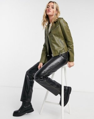 Кожаная куртка цвета хаки Emma-Зеленый цвет Barneys Originals