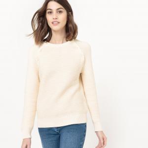 Пуловер с круглым вырезом, проймы рукавов застежкой на пуговицы La Redoute Collections. Цвет: слоновая кость,темно-синий