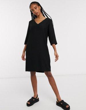 Черное платье-туника мини с рукавами 3/4 -Черный Selected