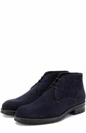 Высокие замшевые ботинки на шнуровке Brioni. Цвет: темно-синий