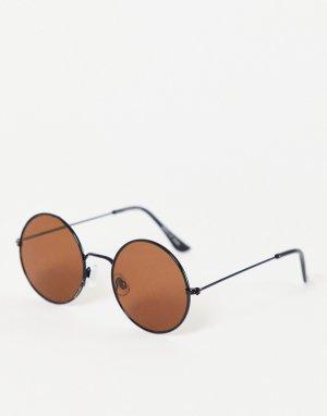 Круглые солнцезащитные очки в тонкой оправе -Коричневый цвет Madein.