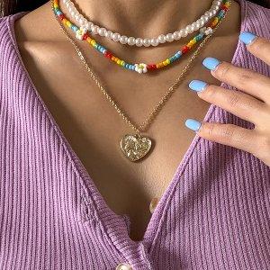 3шт Ожерелье с сердечком SHEIN. Цвет: многоцветный