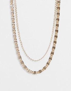 Золотистое ярусное ожерелье-цепочка в винтажном стиле -Золотистый ASOS DESIGN