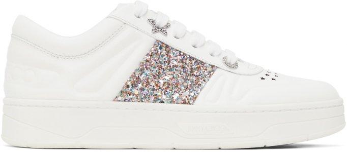 White Glitter Hawaii Sneakers Jimmy Choo. Цвет: white/mochi