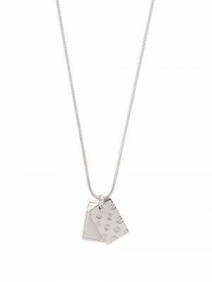 Engraved logo charm necklace Giorgio Armani. Цвет: серебристый