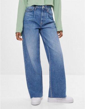 Голубые свободные джинсы в стиле 90-х -Голубой Bershka