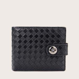 Мужской Маленький кошелек текстурированный SHEIN. Цвет: чёрный