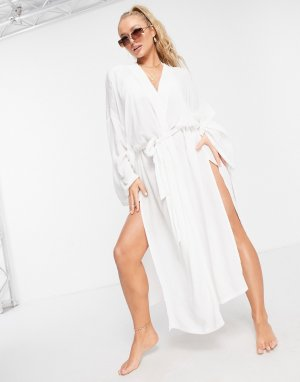 Белое пляжное кимоно -Белый ASOS DESIGN