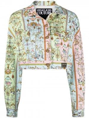 Укороченная джинсовая куртка с логотипом Versace Jeans Couture. Цвет: синий
