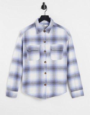 Голубая рубашка в клетку -Голубой Hollister
