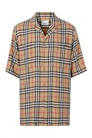 Клетчатая рубашка с короткими рукавами Burberry. Цвет: бежевый