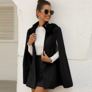 Твидовое пальто-кейп с перьями SHEIN. Цвет: чёрный