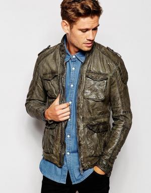 Кожаная байкерская куртка слим в винтажном стиле Pepe Heritage Fortman Jeans. Цвет: черный