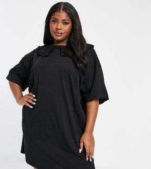 Черное чайное платье мини с большим отложным воротником ASOS DESIGN Curve-Черный Curve