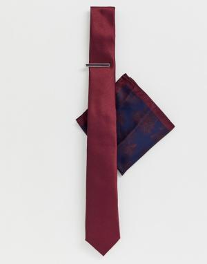 Бордовый галстук с зажимом и платок для пиджака Moss London BROS. Цвет: красный