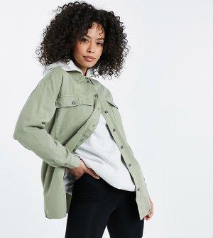 Шалфейно-зеленая джинсовая куртка-рубашка -Зеленый цвет Noisy May Tall