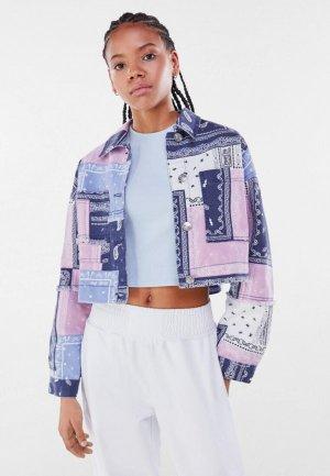 Куртка джинсовая Bershka. Цвет: разноцветный