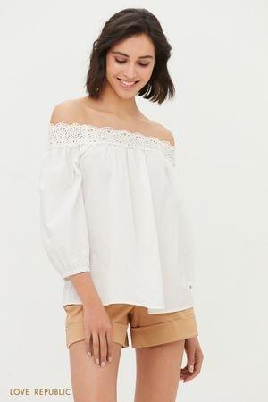 Блузка с открытыми плечами и вышивкой ришелье LOVE REPUBLIC